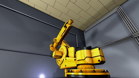 Artist creation heavy industry robotic arm exhibition Animation