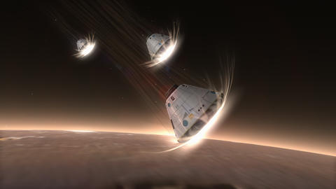 Artist rendering, Space capsule descending to Mars Animation