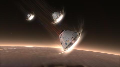 Artist rendering, Space capsule descending to Mars Animation