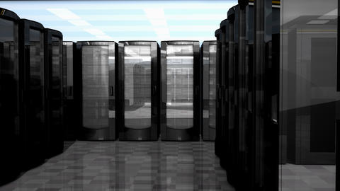 Server and database room. Technology and equipment Animation