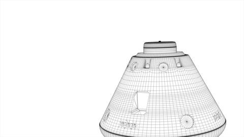 Wireframe rendering, manned space capsule module Animation