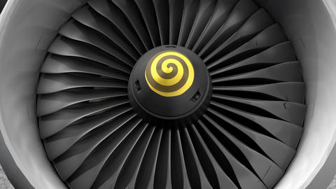 Engineering and technology, turbo jet engine front view Animation