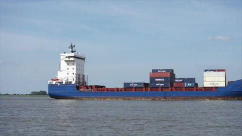 Ship On German River stock footage