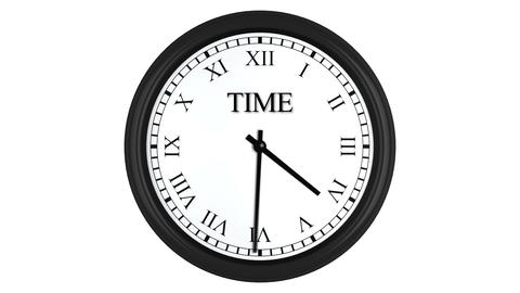 Time is money displayed on spinning clock with Roman numerals Animation