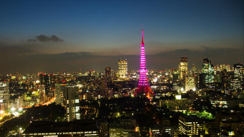 Tokyo Tower light up time lapse at dusk Footage