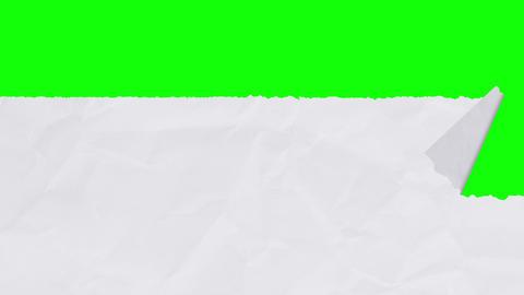 Tearing white paper revealing a green screen - horizontal version Animation