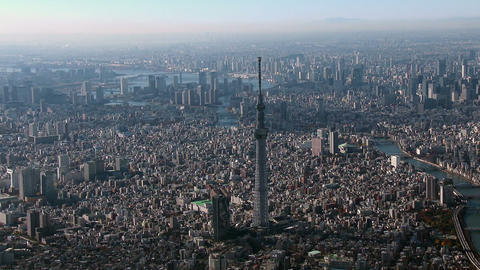 Tokyo Sky Tree Aerial view from Helicopter Footage