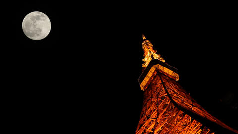 Tokyo Tower Light Up And FULL Moon stock footage
