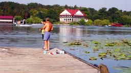 Water Ski, Fishermen On Wooden Pier Footage
