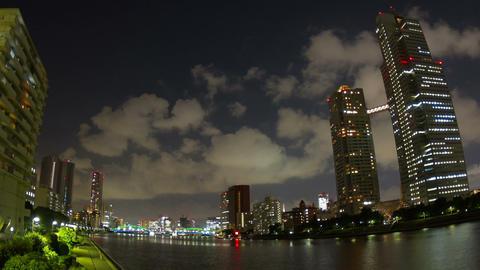 Seiroka tower and kachidoki bridge nightscape time lapse Footage