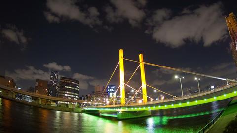 Shinohashi Bridge Nightscape Time Lapse stock footage