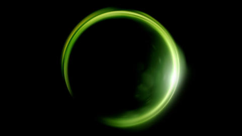 green Lens ring flares crossing of circle shape Animation