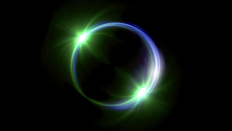 green Solar eclipse in space concept with green ring flare Animation