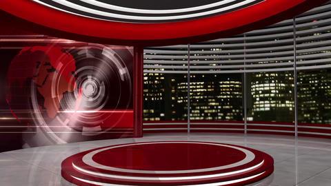 News TV Studio Set 54 Virtual Green Screen Background Loop stock footage