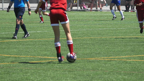 Girls Playing Soccer - Pass, Feint, Attack, Hit Footage