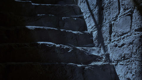 Ancient stairs at night Footage