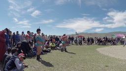 Mongolian wrestling to celebrate the national holiday of Naadam, Tsagaanuur, Mon Footage