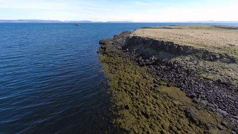 Flight along the coast of the island Vigur Footage