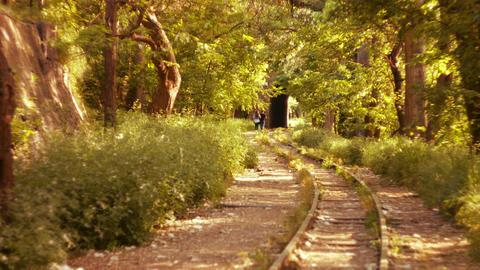 Romantic Couple Walking along a Railway Line Stock Video Footage