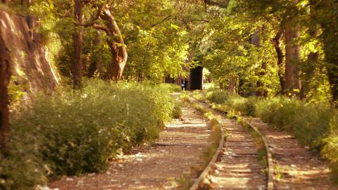 Romantic Couple Walking Along A Railway Line stock footage