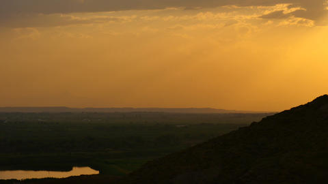 Warm And Soft Sunset Glow Over Countryside stock footage