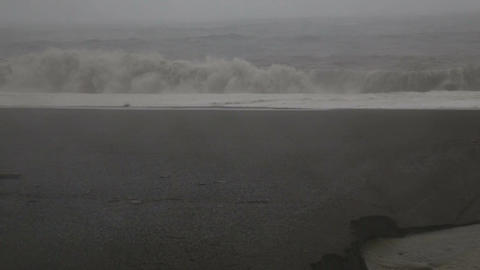 Stormy sea with big waves during Typhoon Souledor, Taiwan, August 2015 Footage