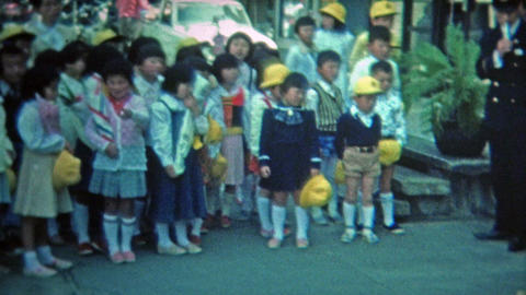 1972: Japanese school boys uniforms learning about safety Footage