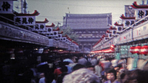 1972: Journey To The Popular Smoke Temple Through The Crowds stock footage