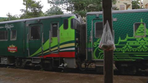 myanmar train leaves station Footage