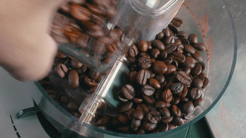 Coffee Beans Added to the Grinder Footage