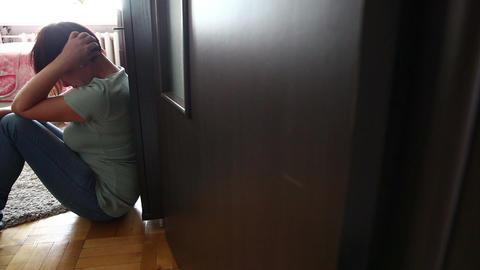 Sad Woman Sitting Indoor, Tracking Shot Stock Video Footage