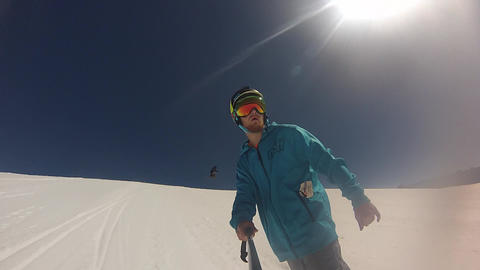 Gopro Snowboarding Sunny Day stock footage