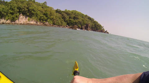 POV Shot Of Paddling A Sit-on-top Kayak At The Sea stock footage