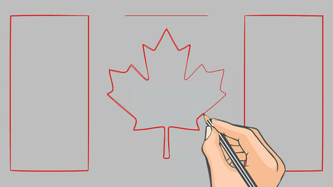 Hand drawn flag of Canada animation Footage
