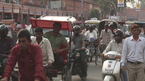 Indian Busy Street - Traffic At Jaipur City stock footage