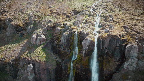 Incredible views of the waterfall Iceland Footage
