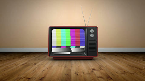 Old fashioned tv with static Animation