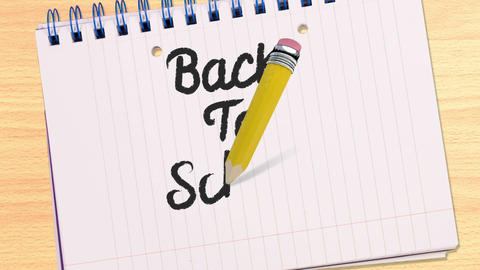 Back to school writing on notepad Animation