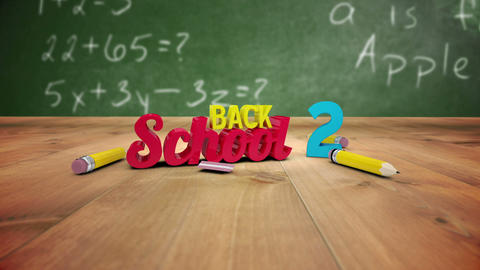 Back to school graphic falling in classroom Animation