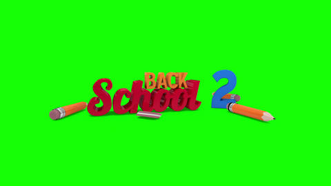 Back to school graphic falling against green screen Animation