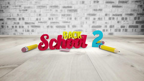 Back to school graphic falling with pencils Animation