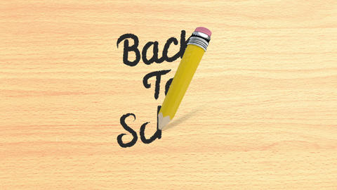 Back to school writing on wooden desk Animation