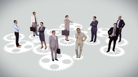 Business people standing on moving cogs and wheels Animation