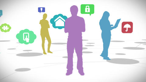 Casual people standing on connecting lines with app icons Animation