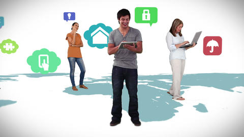 Casual people standing on map with app icons Animation