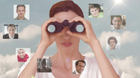 Businesswoman searching for new employees Animation