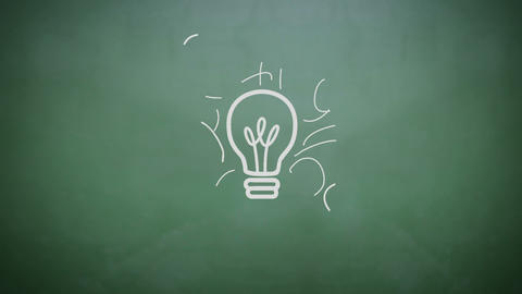 Light bulb appearing on chalkboard, Stock Animation