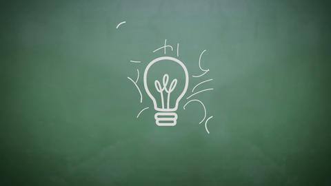 Light Bulb Appearing On Chalkboard stock footage