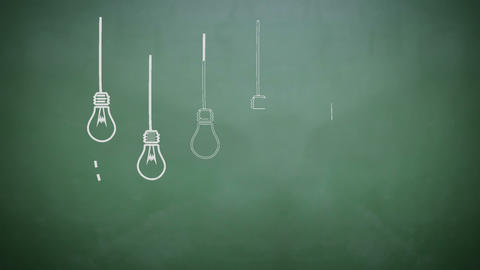 Light bulbs appearing on chalkboard Animation