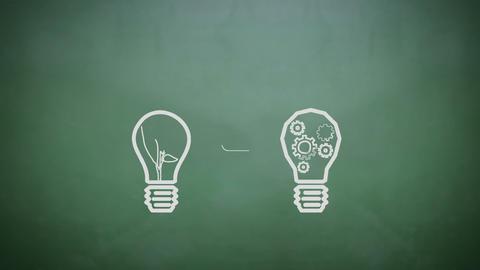 Light bulbs appearing on chalkboard Animation